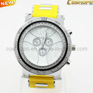 Colorful Silicone Men Watch with Yellow Band (SA1939)