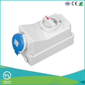 Multi-Current IP44 Socket with Switch and Interlock for Industrial Plugs & Sockets pictures & photos