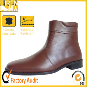 Brown Leather Miliitary Office Ankle Boots pictures & photos