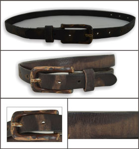 Brown Dark Vintage Genuine Leather Lady′s Belt pictures & photos