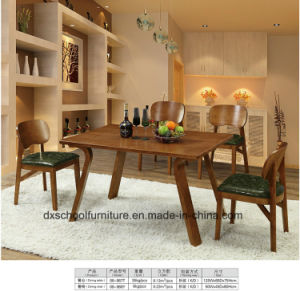 Solid Wood Table with Four Chairs for Dining Room pictures & photos