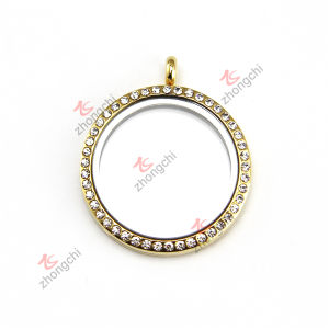 Fashion Metal Customized Crystal Round Gold Lockets Charms for Christmas Gifts (RGL50814)