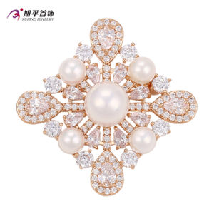 Xuping Fashion Luxury Gold-Plated Crystals From Swarovski Pearls Flower-Shaped Jewelry Element Brooch -00010 pictures & photos