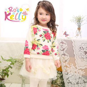 2015 New Kids Clothes Winter Wear, Flower Sweater, Lace Dress