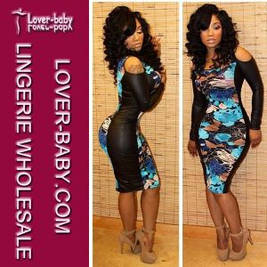 Woman PU Sheath Mini Clubwear Sexy Dress (L27682) pictures & photos