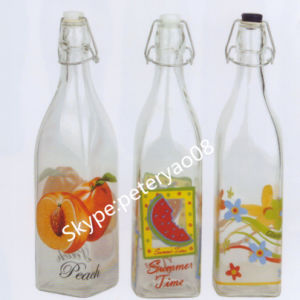 1L Glass Water Bottle with Clip Lid pictures & photos