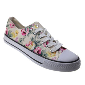 Print Canvas Slip on Vulcanized Shoes for Women pictures & photos