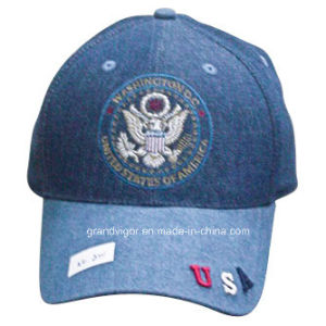 Six Panels Denim Baseball Cap with Greatseal Logo pictures & photos
