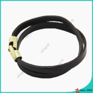 Black Leather Anti-Brass Stainless Steel Clasp Bracelet (LB)