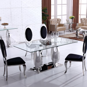 2017 New Model Dining Table with Tempered Glass Top pictures & photos