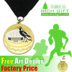Factory Price Custom Plated Metal Blank Engraved Medal with Ribbon pictures & photos