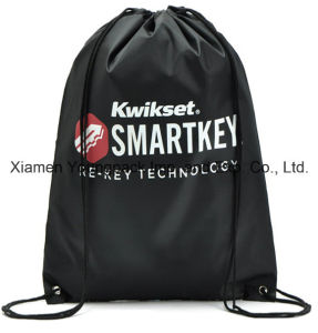 Black Custom Printed Promotional Lightweight Nylon Drawstring Backpack Bag pictures & photos