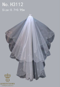 Exquisite Hand-Beaded Lace Bridal Veil Short Paragraph