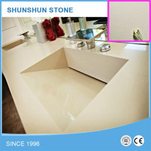 Ivory/Iced Snow White Quartz Stone Countertop with Hidden Drain Sink pictures & photos