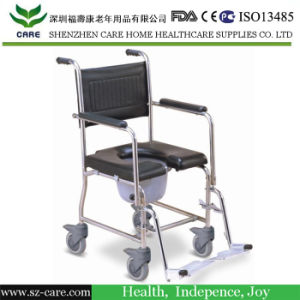Stainless Steel Commode Chair with Detachable Footrest
