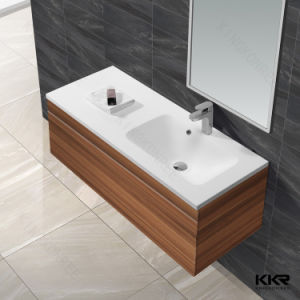 China Manufacturer Solid Surface Cabinet Bathroom Double Washing Basin pictures & photos