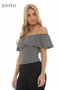 off Shoulder Open Back Women Shift Blouse pictures & photos
