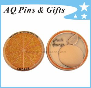 Fresh Orange Geo Coin with Laser Engraving, Metal Coin pictures & photos