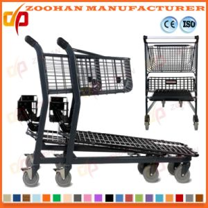 Black Coated Metal Supermarket Handling Metal Shopping Trolley Cart (Zht193) pictures & photos