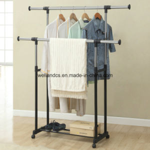 Adjustable Sturdy Metal Clothes Closet Hanger Rack in Black pictures & photos