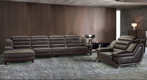 Three Seat with Chaise Leather Sofa for House Used (HC2058) pictures & photos