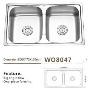 Stainless Steel Kitchen Ware Sink Wo8047 Double Bowl One Piece Forming