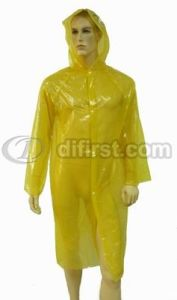 PE Disposable Rain Coat with Hood for Emergency pictures & photos