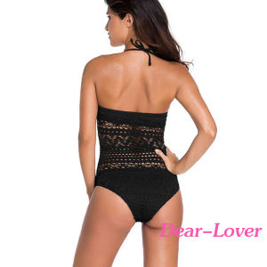Black Lace Halter Teddy Swimsuit pictures & photos