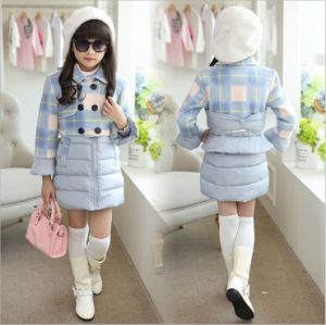 C1131 Winter 2PCS Girls Plaid Cotton Padded Coat pictures & photos