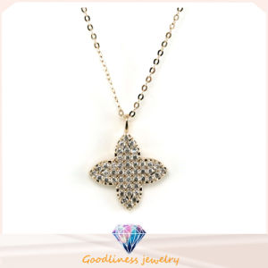 Woman′s Fashion Jewelry Four Leaves Clover Rhoant Rhodium Plated Pendant Necklace N6609 pictures & photos