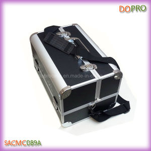 Large Matt Black PU Leather Aluminum Makeup Travel Case (SACMC089A)