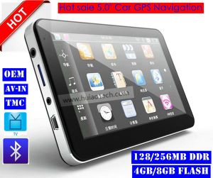 Hot Sale Portable Handheld 5.0 Inch Car GPS Navigator with Wince 6.0 Cortex A7 Dual Core 800MHz CPU, Bluetooth Handsfree, FM Transmitter Sat Nav G-5003 pictures & photos