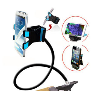 Universal Lazy Android Mobile Phone Clip Holder GPS Desk Bed Stand Bracket 360 Rotating Mount for iPhone 5s 6 Plus