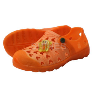 Orange EVA Garden Shoes with Monkey Ornament for Children