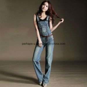 High Quality Classic Denim Ladies Jeans Overall Women Pants pictures & photos