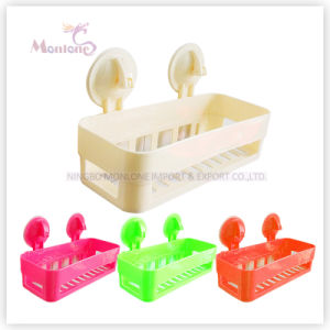 Suction Cup Wall Mounted Plastic Bathroom Shampoo Rack Storage Shelf pictures & photos