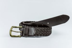 Newly-Designed Fashion Leather-Canvas Woven Belt with Full Grain Leather