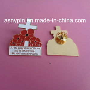UK Poppy Pin Badge Soft Enamel Poppy Flower Design Lapel Pin pictures & photos