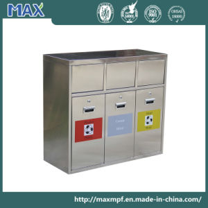 Stainless Steel Container Garbage 3 Section Recycling Bin pictures & photos