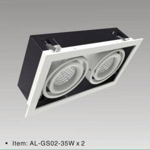 China Supplier LED Downlight Aluminum Die-Casting COB LED Grille Light 35wx2