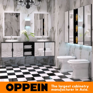 Oppein White Tempered Glass Bathroom Cabinets with Lamp Mirror pictures & photos