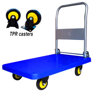 300kg Plastic Platform Hand Truck with TPR Wheel Folding Noiseless Trolley pictures & photos