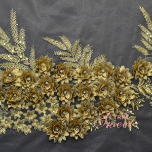 Women′s Dress Gold Thread 3D Guipure Chemical Lace pictures & photos