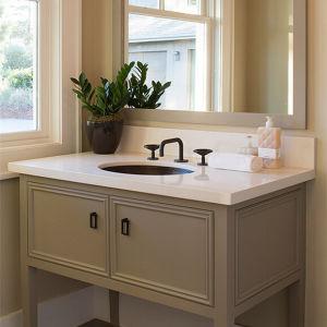 China Solid Surface Quartz Stone Custom Made Bathroom Basin Vanity Top China Bathroom Basin