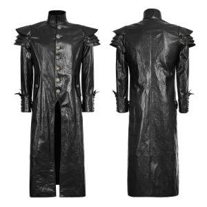 Y-630punk Spring Black Designer Leather Men Jacket Long Coat pictures & photos