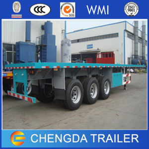 Tri Axle 40FT Flatbed Container Trailer with Extra Oil Tank pictures & photos