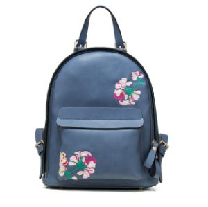 2015 Fashionable PU Embroidered Backpack Ladies Backpack pictures & photos