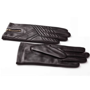 Men′s Fashion Zipper Leather Motorcycle Driving Gloves (YKY5184-1) pictures & photos