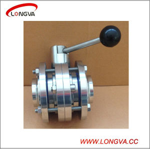 Sanitary Stainless Steel Three-Piece Butt Weld Butterfly Valve pictures & photos