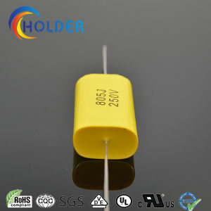 Axial Metallized Polypropylene Capacitor (Cbb20 805j/250V) with Copper Wire Yellow RoHS for Running (CBB20 Series) pictures & photos